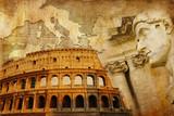 great Roman empire - conceptual collage in retro style