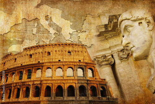 Papiers peints Con. Antique great Roman empire - conceptual collage in retro style