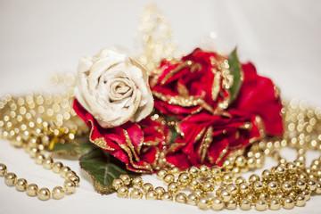 Christmas fabric roses