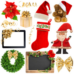 Christmas decoration objects isolated on white