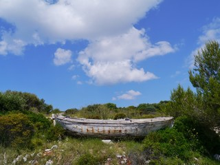 An ancient fishing boat ashore on Lastovo in Croatia