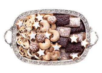 Tray with Christmas cookies