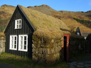 Ferme traditionnelle à Skogar en Islande