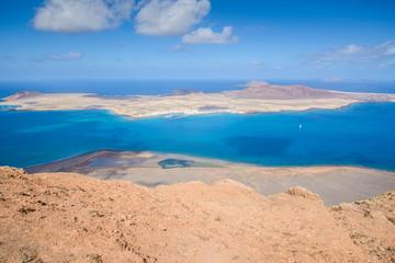 Island of La Graciosa, seen from Mirador del Rio, Canary islands