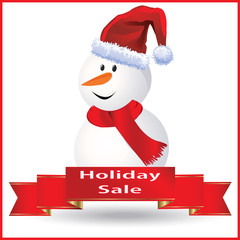 Snowman Holiday Sale Sign with a Red Frame