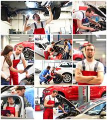 Collage Autoreparatur - Mechaniker und Kunden in Werkstatt