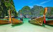 Heavenly beach Maya Bay on Phi Phi Islands and longtail boats