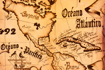 Detail of a handcrafted leather map souvenir