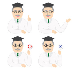 Variations of a scientist's poses, vector illustration