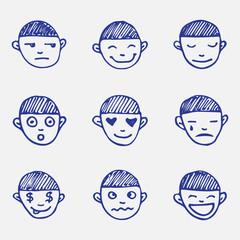 Vector hand drawn doodle emoticons set. Boy's head emotions