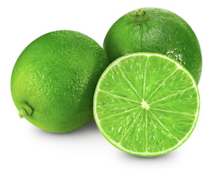 lime fruit isolated closeup Clipping Path