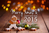 Fototapety Merry christmas and happy new year 2015