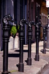 Hrose head posts, French Quarter, New Orleans