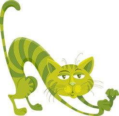 green cat character cartoon illustration