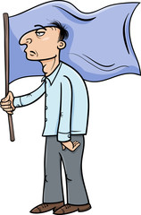 man with flag cartoon illustration