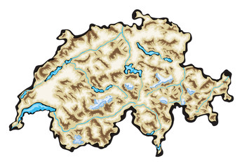Switzerland Map Vector Illustration