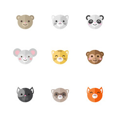 Vector flat set of funny cartoon animals