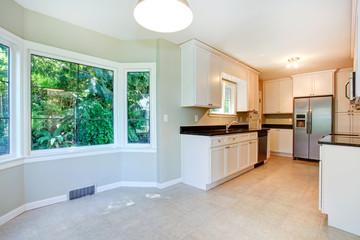 Kitchen interior with empty dining corner