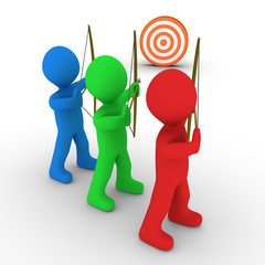 Different archers aiming and a target