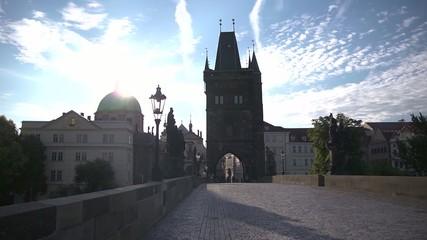 Charles Bridge on sunrise Prague
