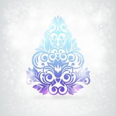 Christmas card. Christmas tree with snow. Vector Illustration.