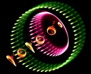 Christmas colours circular radiating abstract fractal