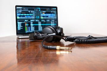 Headphones on a laptop computer