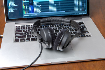 Headphones on a laptop computer