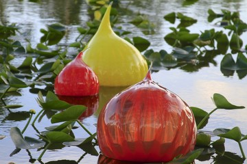 Chihuly spheres floating on a pond - fairchild