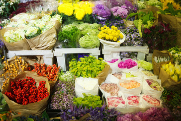 multitude of color flowers at the wholesale market