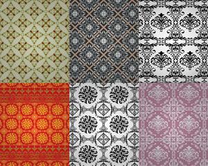 six vintage seamless pattern