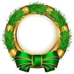 Round chrismas frame with bow