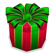 Red gift box with green bow