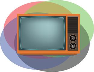 Old orange TV. Vector illustration