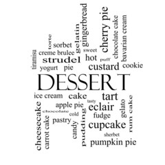 Dessert Word Cloud Concept in black and white