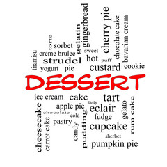 Dessert Word Cloud Concept in red caps