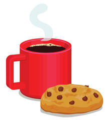 Coffee and chocolate chip cookie