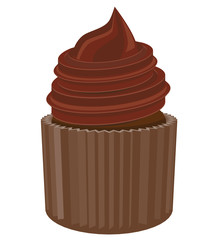 Cupcake with chocolate icing on top