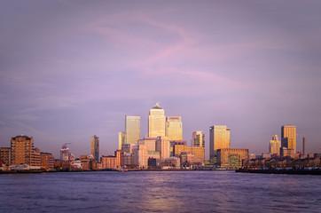 London, Canary Wharf at twilight
