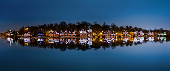 Philadelphia - Boathouse Row panorama by night
