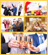 Collage of photos with New Year celebration in office