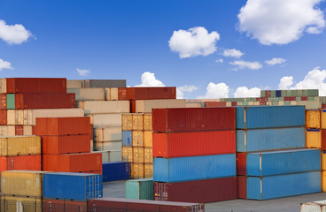 Stacks of colorful cargo containers