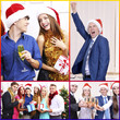 Collage of photos with Christmas celebration in office