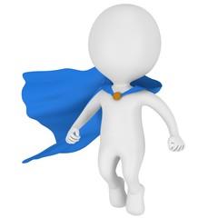 3d brave superhero with blue cloak levitate above