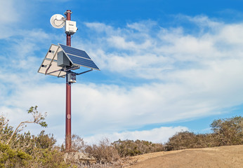 Solar powered surveillance camera in rural area,horizontal