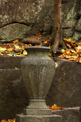 Stone planter on stone background