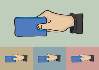 Hand Holding Card Vector Illustration