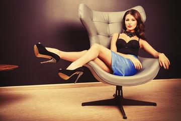 lying on chair
