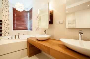 Two sinks in bathroom
