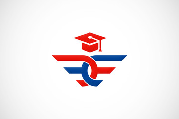 education college abstract wing logo vector